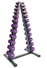 Power Systems Premium Neoprene Dumbbells and Vertical Rack with 1 to 15 lb. Set - Fitness Trendz USA