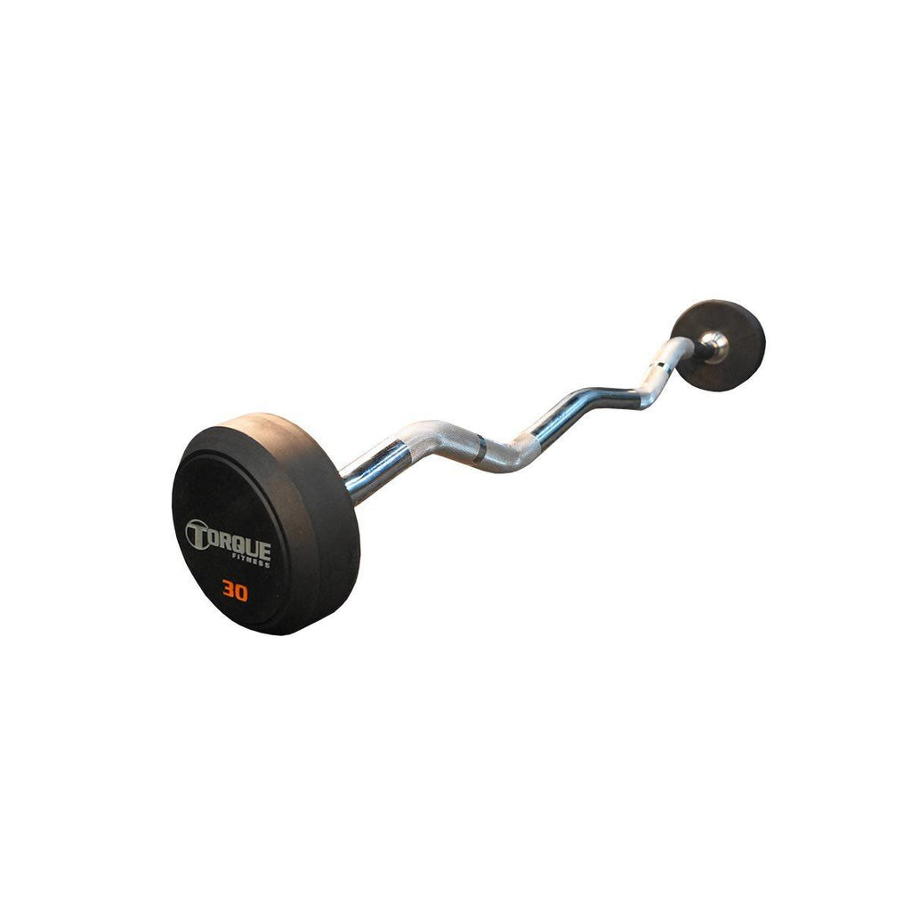 Torque Fitness Rubber Pro-Style E-Z Curl Barbell 20 to 100 lb. Set - Fitness Trendz USA