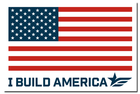 Flag I Build America Decal