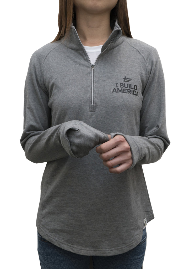 Heather Gray 1/2 Zip I Build America Fleece - Women
