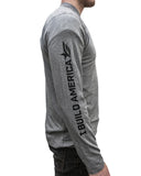Heather Grey I Build America Long-Sleeve T-Shirt w/ Logo Sleeve