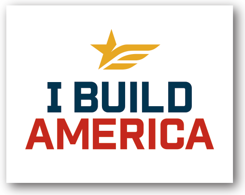 I Build America Square Logo Decal