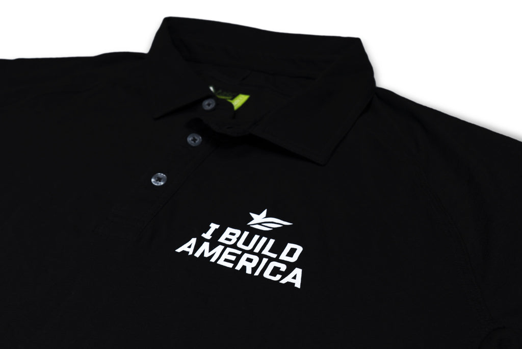 Black I Build America Polo