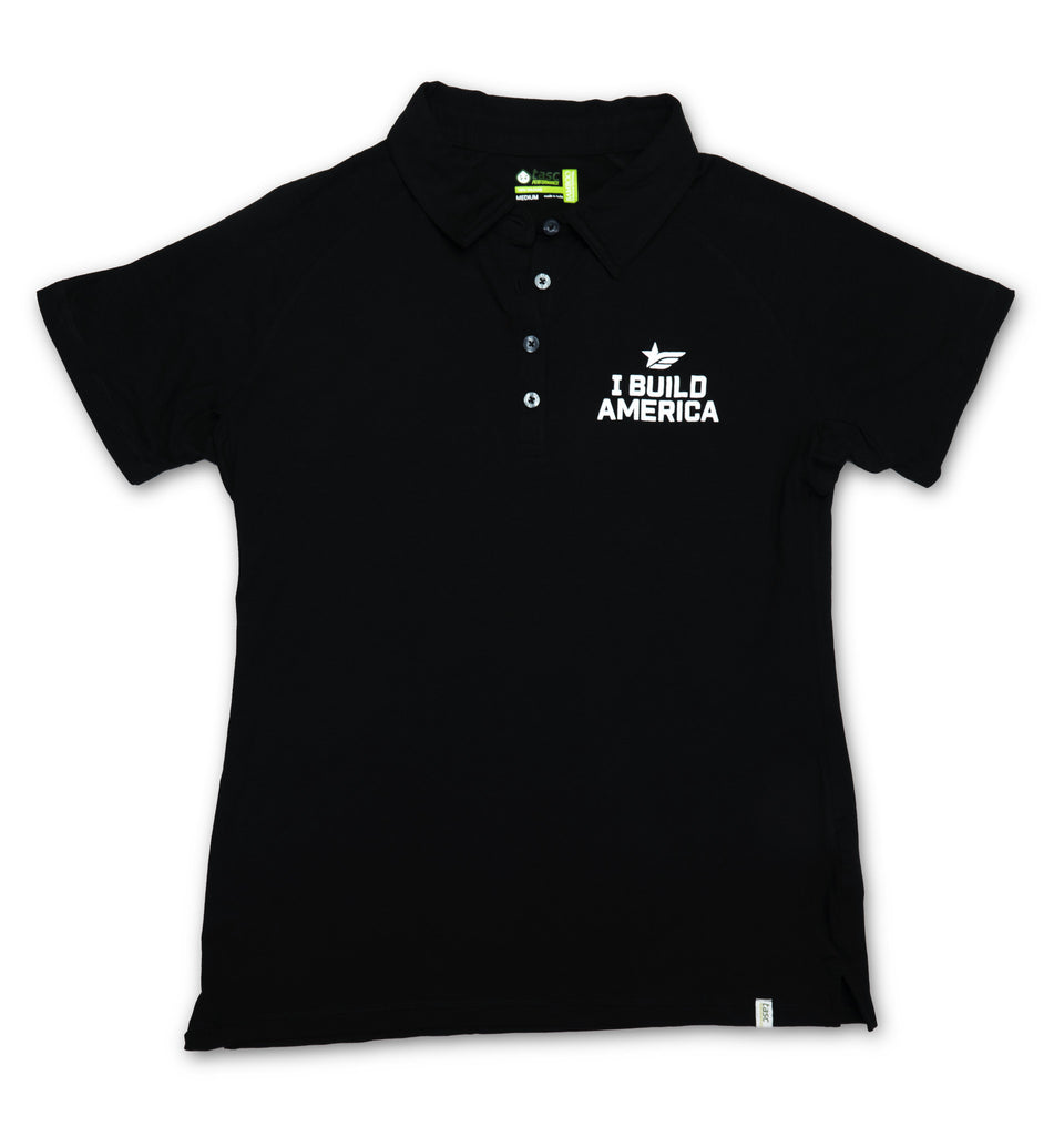 Black I Build America Polo - Women