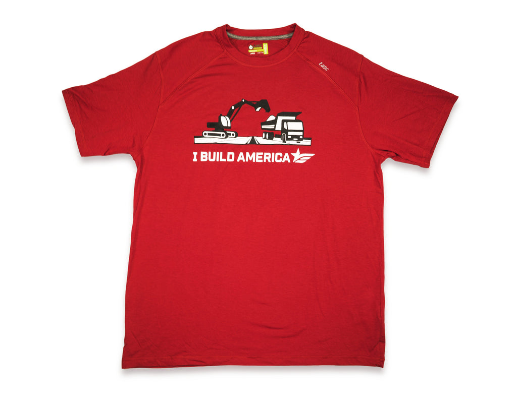 Red I Build America Tractor & Dumptruck T-Shirt
