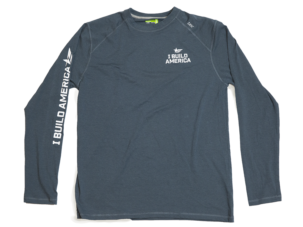 Gunmetal Gray I Build America Long-Sleeve T-Shirt w/ Logo Sleeve