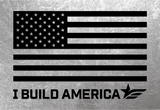 Large I Build America Flag Decal - Black