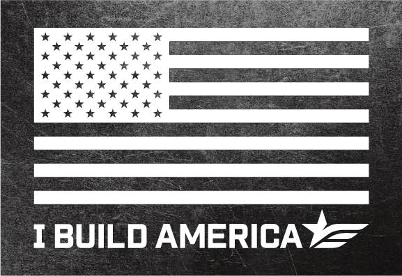 Large I Build America Flag Sticker - White