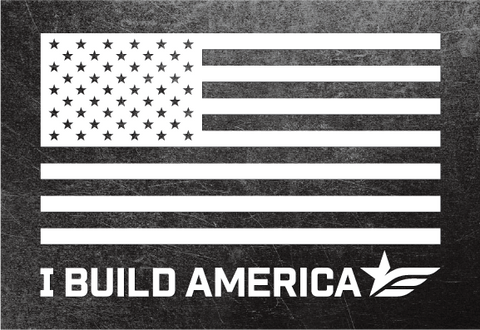 Large I Build America Flag Decal - White