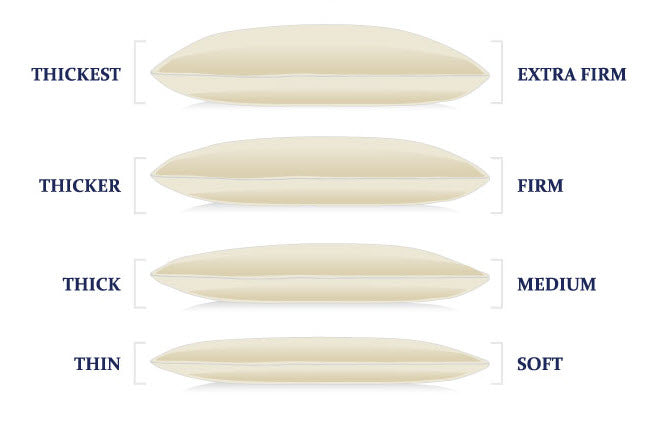 organic goose down feather pillows stacked soft, medium, firm and extra firm