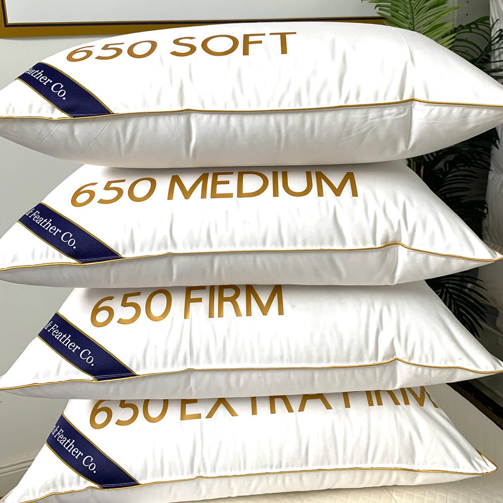 650 fill power goose down pillows stacked soft, medium, firm and extra firm