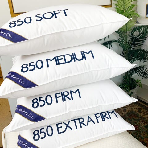 850 fill power goose down pillows stacked soft, medium, firm and extra firm