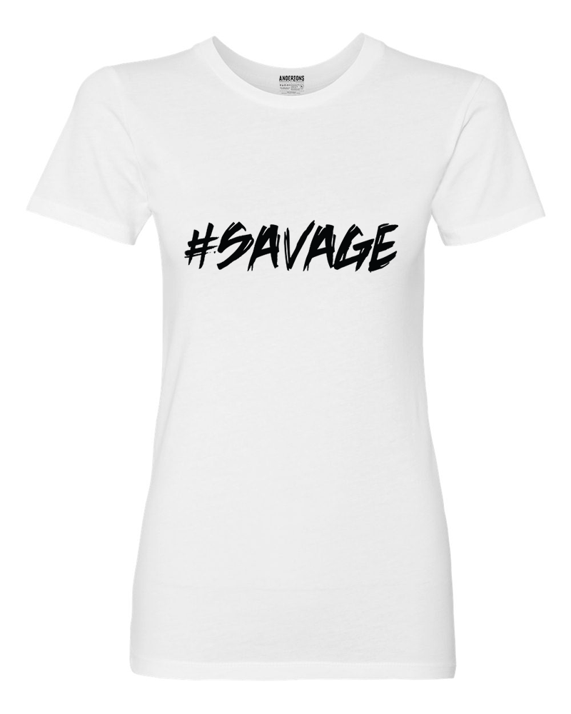Anderton's Womens #SAVAGE T-Shirt - White