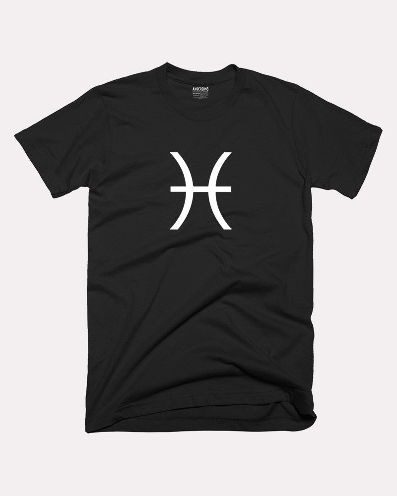 Anderton's Mens Pisces Zodiac Sign T-Shirt in Black and White