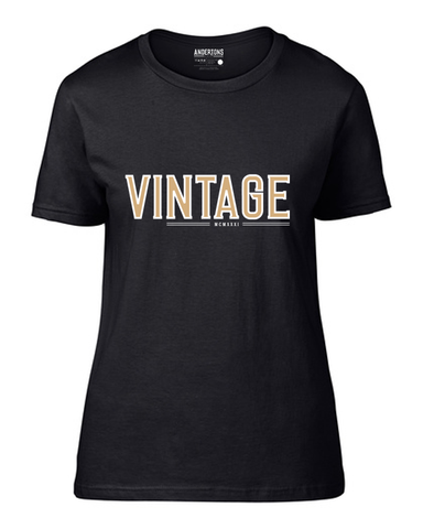 Anderton's Vintage Design Ladies' Short Sleeve T-Shirt -Black/Gold