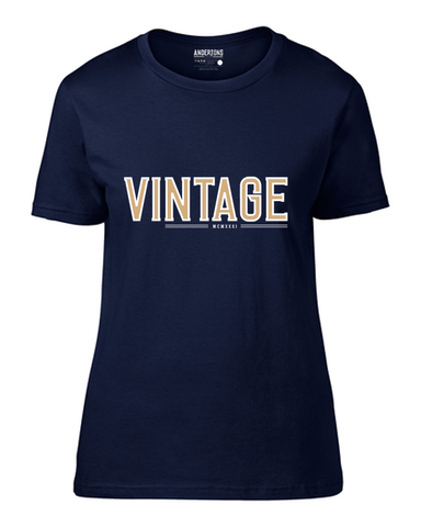 Anderton's Vintage Design - Ladies' Short Sleeve T-Shirt - Navy/Gold