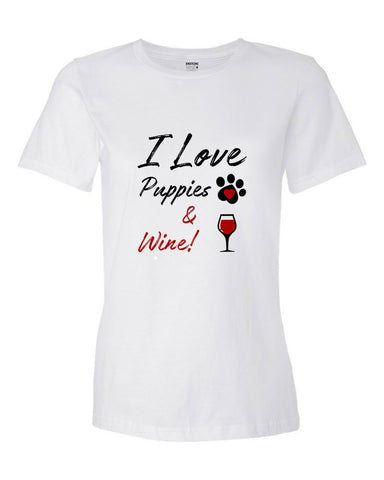 Anderton's Womens I Love Puppies and Wine