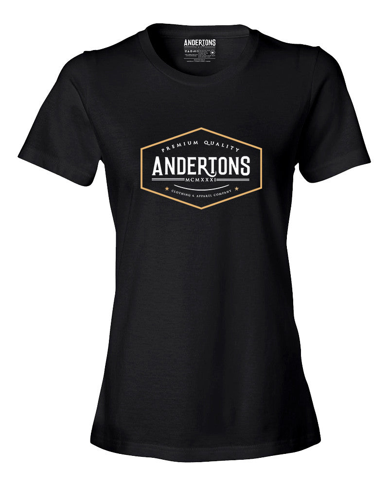 Anderton's Womens Vintage Logo T-Shirt in Black