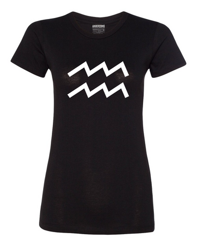 Aquarius Zodiac Sign T-Shirt for Women in Black and White