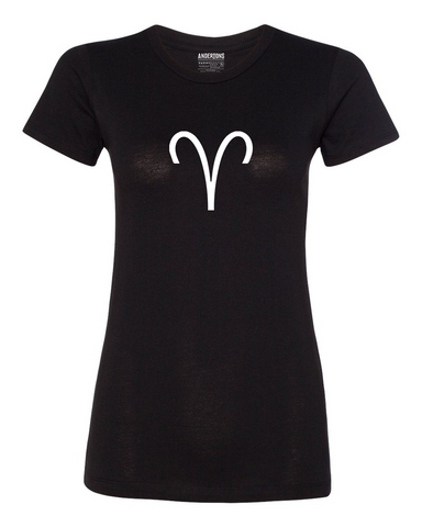 Aries Zodiac Sign T-Shirt for Women in Black and White