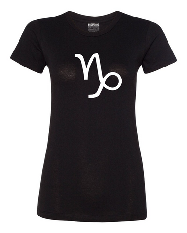 Capricorn Zodiac Sign T-Shirt for Women in Black and White