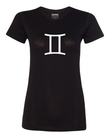 Gemini Zodiac Sign T-Shirt for Women in Black and White
