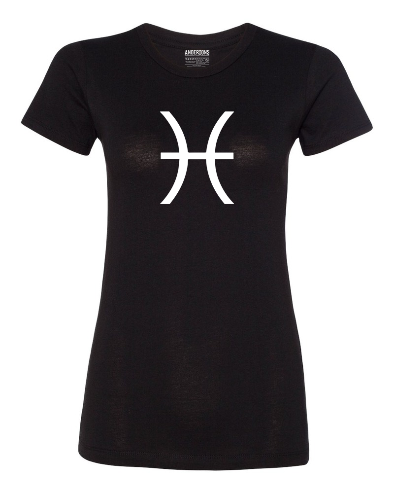 Pisces Zodiac Sign T-Shirt for Women in Black and White