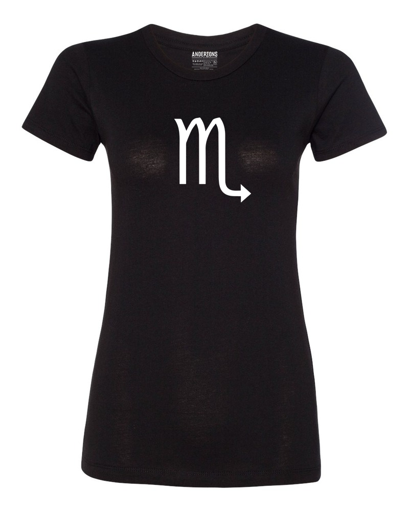 Scorpio Zodiac Sign T-Shirt for Women in Black and White