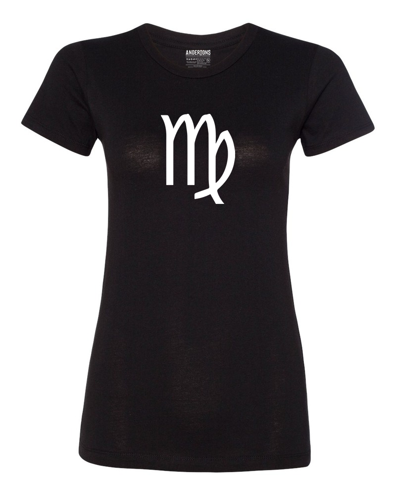 Virgo Zodiac Sign T-Shirt for Women in Black and White