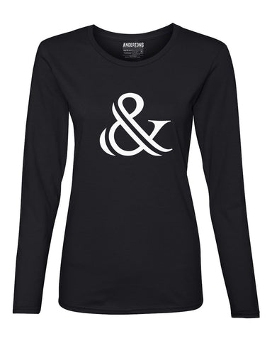 Ampersand Women's Long Sleeve Tee in Black