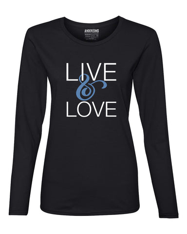 Live and Love Women's Long Sleeve Tee in Black