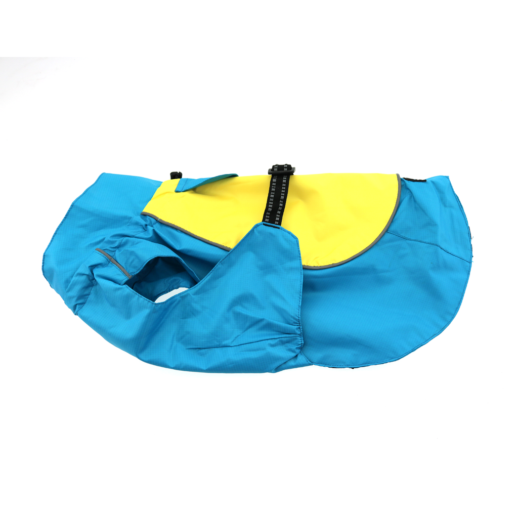 Dog Raincoat Body Wrap - Teal and Yellow