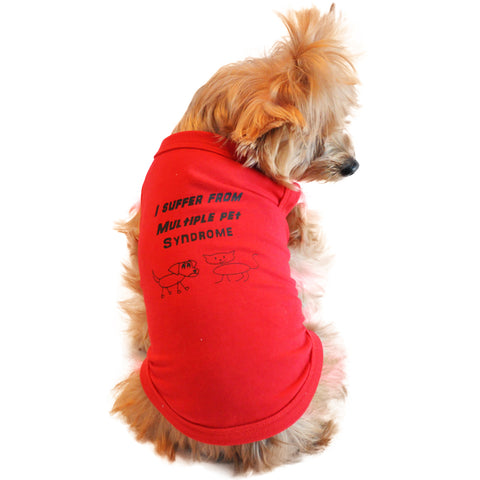 I Suffer From Multiple Pet Syndrome Designer Dog Tank - Red