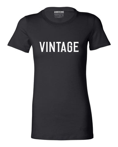 Women's Vintage Bold Design Short Sleeve Tee in Black