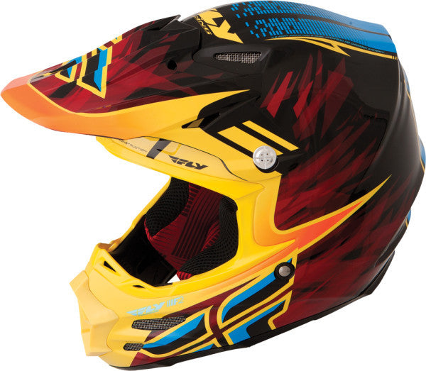 FLY F2 CARBON SHORTY HELMET BLACK/YELLOW/BLUE