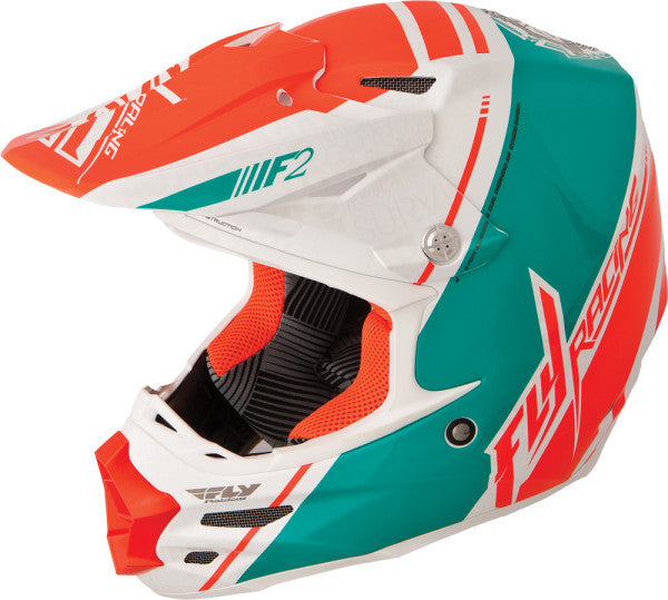 FLY F2 CARBON CANARD REPLICA HELMET WHITE/TEAL/ORANGE