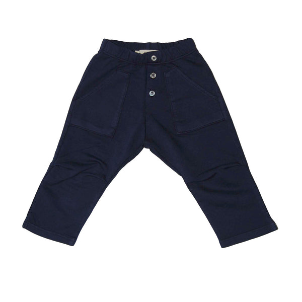 navy blue button fly trouser