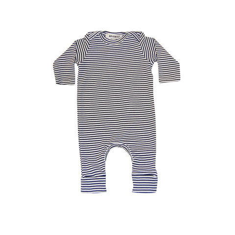 navy/natural stripe romper