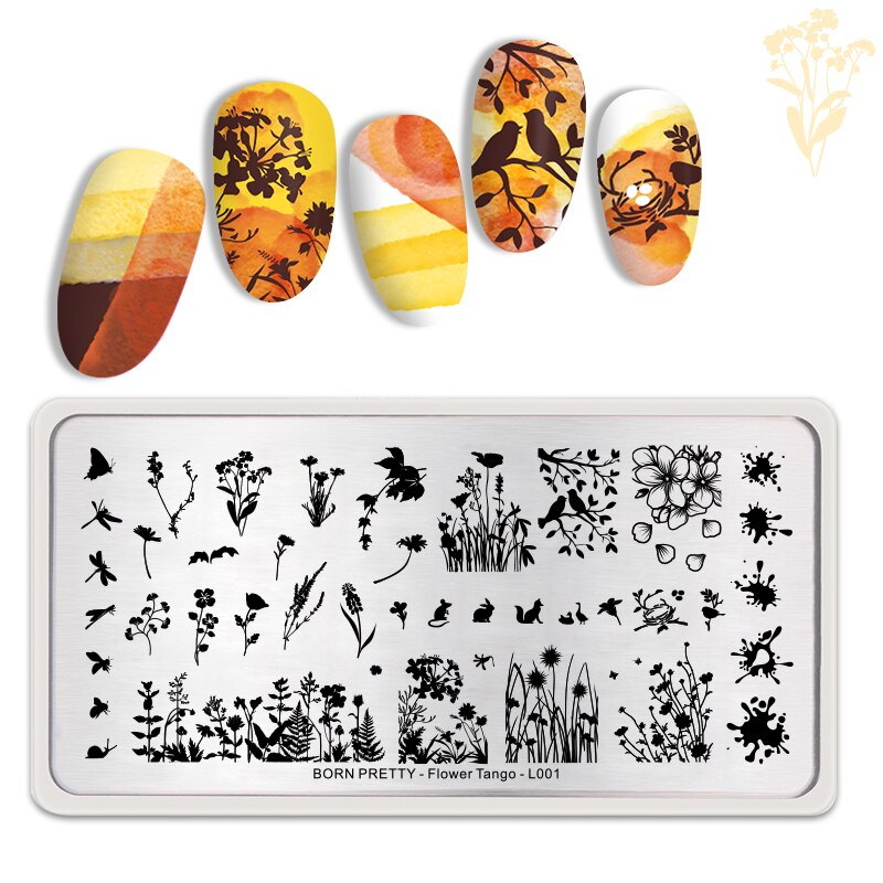 Born Pretty Flower Tango L001 Stamping Plate