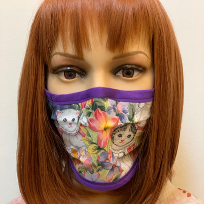 Vintage Kitten Fitted Fabric Face Mask