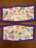 Painted Birds Fitted Fabric Face Mask