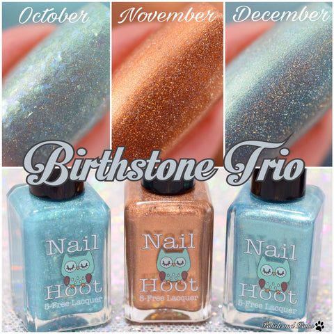 Bath And Beauty - Birthstone Polishes October, November, December Trio By Nail Hoot