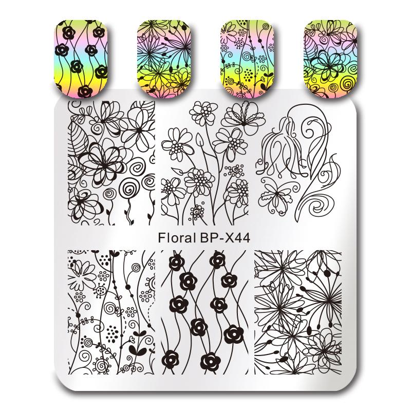 Born Pretty BP X44 Floral Stamping Plate