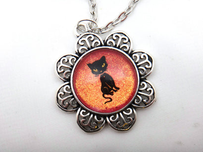 Jewelry/Necklace - Hand Painted Black Cat Necklace