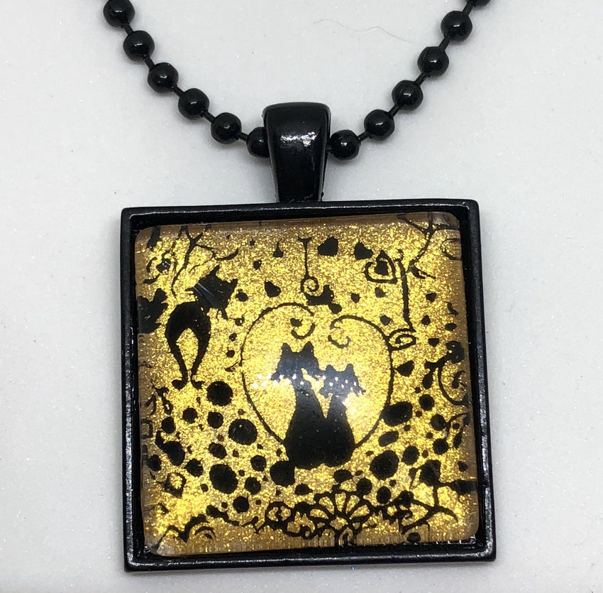 Jewelry/Necklace - Hand Painted Cat Necklace