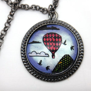 Jewelry/Necklace - Hand Painted Hot Air Balloon Necklace