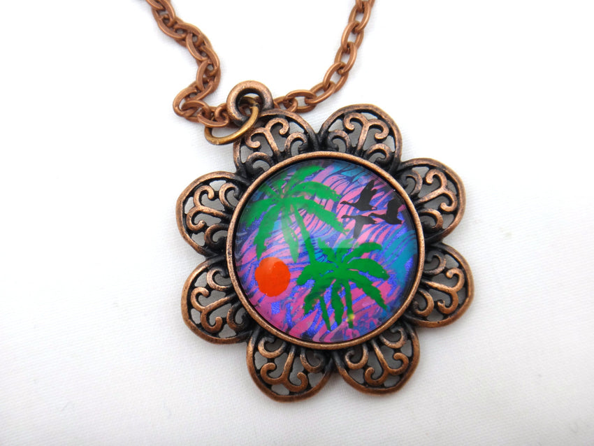 Jewelry/Necklace - Hand Painted Palm Tree Necklace