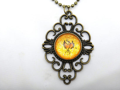 Jewelry/Necklace - Hand Painted Phoenix Necklace