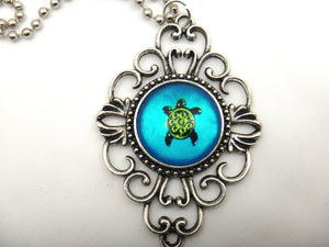 Jewelry/Necklace - Hand Painted Sea Turtle Necklace