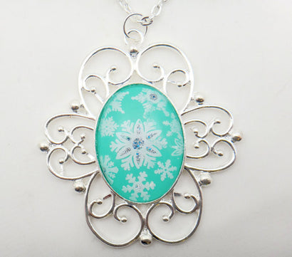 Jewelry/Necklace - Hand Painted Victorian Snowflake Necklace